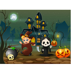 happy halloween witch and grim reaper in front of vector image
