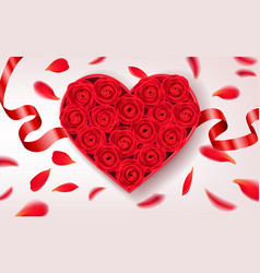 heart shaped box with red roses inside romantic vector image