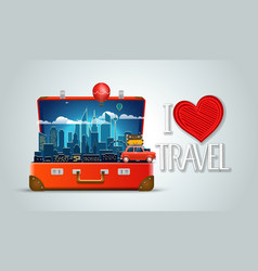 i love travel concept modern cityscape night scene vector image