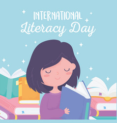 international literacy day girl reading book vector image