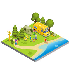 Isometric camping concept vector