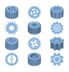 isometric gears set mechanical design vector image