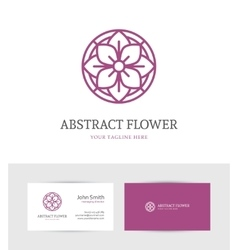 Linear purple flower logo vector