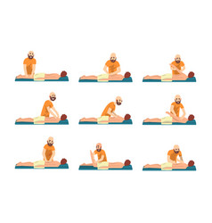 male therapist doing back massage to young man set vector image