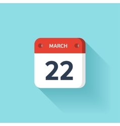 March 22 isometric calendar icon with shadow vector