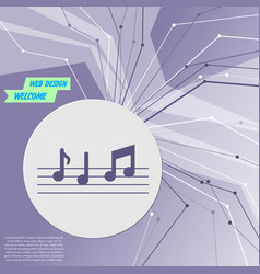 Music notes icon on purple abstract modern vector