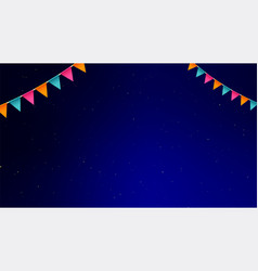 night background with flags garlands pattern with vector image