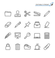 office supplies line icons editable stroke vector image