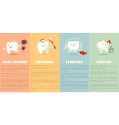 Oral hygiene booklet with cute tooth vector image
