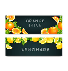 orange juice lemonade 2 banners set vector image
