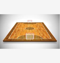 Perspective of hardwood futsal court or field eps vector