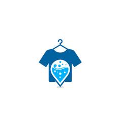 Pin laundry logo icon design vector