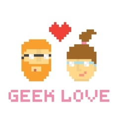 Pixel art style geek couple in love vector image