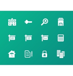 Real Estate icons on green background vector