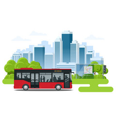Red city bus at a bus stop people get in and out vector