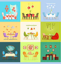 restaurant rooms romantic interior tables chairs vector image
