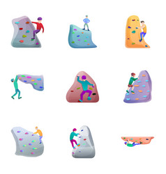 rock climbing icon set cartoon style vector image