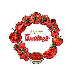 Round frame of tomatoes salsa ketchup bowl vector