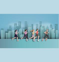 Running marathon vector