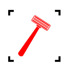 safety razor sign red icon inside black vector image