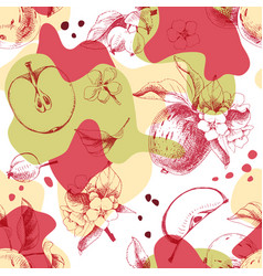 Seamless pattern with hand drawn apple fruits vector