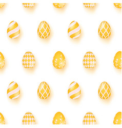 seamless pattern with yellow easter eggs vector image