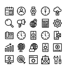 Seo and marketing line icons 2 vector