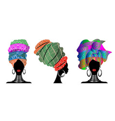 Set african scarf afro women in a striped turbans vector