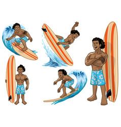 set cartoon hawaiian man surfer vector image