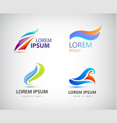 set of abstract wavy vibrant logos vector image