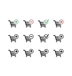 Set of black shopping carts icons with add delete vector image