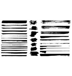 Set of different grunge brush strokes set of vector