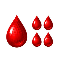 set of red blood drop icons vector image