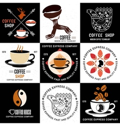 set retro logo and badges for coffee companies vector image