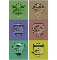 set soccer logos football logotypes in flat vector image