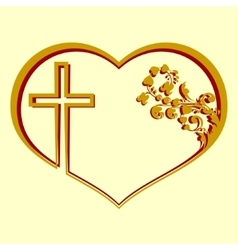 Silhouette of heart with a cross and pattern vector