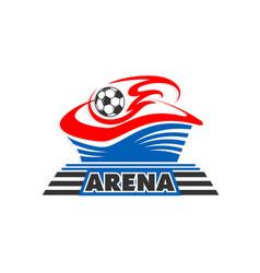 soccer football ball at arena stadium icon vector image