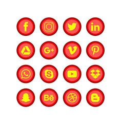 Social media red set vector