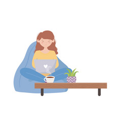 Stay at home girl using laptop with table coffee vector