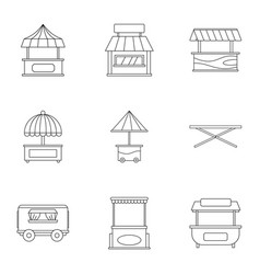 street stall icon set outline style vector image