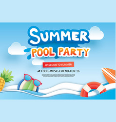 Summer pool party with paper cut symbol and icon vector
