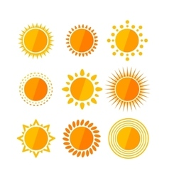 sun flat set vector image vector image