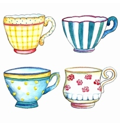 tea cups watercolor on white backgrounds vector image