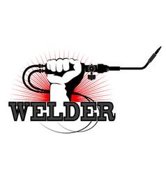 Welding machine in hand design vector