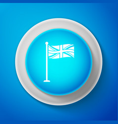 White flag of great britain on flagpole icon vector