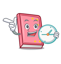 With clock diary character cartoon style vector