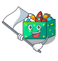 with flag children toy boxes isolated on mascot vector image
