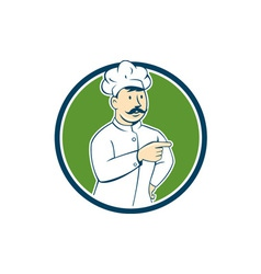 Chef Cook Mustache Pointing Circle Cartoon vector image vector image