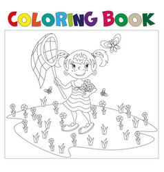 coloring book girl chasing butterflies vector image