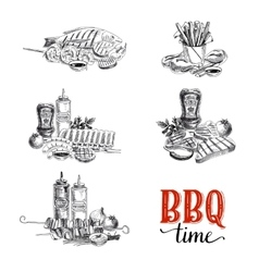set of barbecue and grill elements vector image